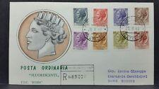 1968 ITALIA FDC SIRACUSANA FLUORESCENTI BUSTA ROMA RACCOMANDATA BB02