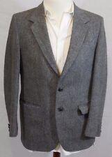 (36R) Vintage HARRIS TWEED GRAY Hand Woven Blazer/Sport/Suit Jacket 36 R BRITAIN