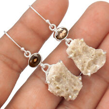 Smokey Quartz Druzy & Smokey Topaz  925 Silver Earrings Jewelry EE71160