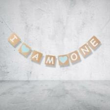 I AM ONE. BIRTHDAY BLUE HEART BUNTING NURSERY GARLAND BANNER DECORATION FAVOUR