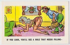 SAUCY POSTCARD - seaside comic, sexy woman boobs bum stockings hole, PEDRO #208