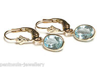 9ct Gold Blue Topaz LeverBack Earrings Gift Boxed Made in UK