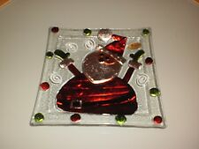 RIKARO HAND MADE ART GLASS SANTA CHRISTMAS  SQUARE PLATE