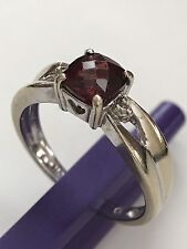 14k Solid White Gold Cushion Cut Red Ruby & Diamonds Ring