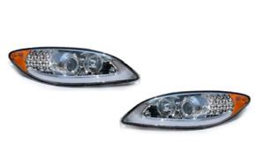 International Prostar Chrome Headlight With LED Light Bar Right Side