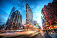 Flatiron Building New York City In Motion Dusk Photo Art Print Poster 12x18
