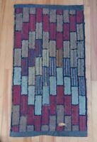 Antique 1800s Handmade Wool Rug Distressed Blocks Stripes Repaired