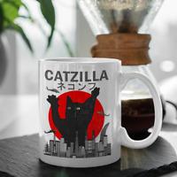 Vintage Catzilla Japanese Sunset Style Cat Kitten Lover Cup Coffee Mug 11oz