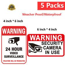 5Pcs Security Camera Surveillance Sticker Cctv System Video Warning Decal Notice