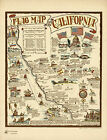 1936+Pictorial+Flag+Map+of+California+Vintage+History+Wall+Art+Poster+11%22x14%22+