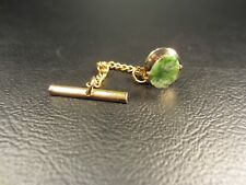 Vintage Jade Yellow Gold Plated Tie Tac or Lapel Pin
