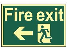 Scan - Fire Exit Running Man Arrow Left - Photoluminescent 300 x 200mm