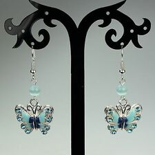 Blue enameled butterfly earrings with rhinestones, Mexican opals, silver hooks