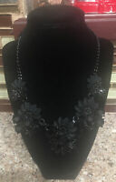 NEW Simply Vera Vera Wang Black Flower Statement Necklace