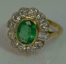 2.50Ct Emerald & Diamond Cluster Art Deco Vintage Ring 14K Yellow Gold Finish