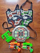 NERF Dart Tag Target LOT: Target + Stand + Dual Blasters + Dual Vests + Darts