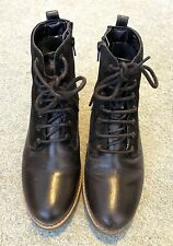 M&S Black Leather Lace-Up Ankle Boots Size 5