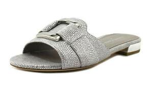 NEW Donald J Pliner $128 Falta Slides Buckle Sandals 9 Silver Embossed Lizard