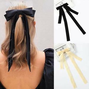 Big Velvet Bow Hair Clip for Women Ribbon Long Hairpin Barrette Hair Accessories