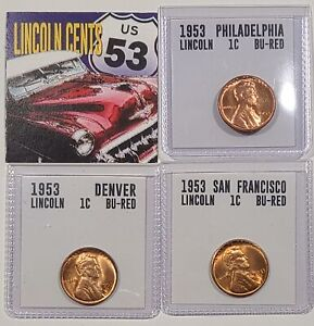 1953-P, D, S Full Red Uncirculated Lincoln Cent Set of 3 coins