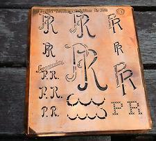 """Monogramm """" PR """" Wäschemonogramm Wäscheschablone Wäschezeichen 11/13 cm KUPFER"""