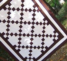 White Brown Patchwork 9 Patch Pieced COTTON Crib Lap Baby Irish Chain Quilt Top
