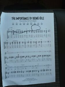 Noel Gallagher Oasis Importance Sheet Music Signed Autograph