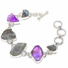 "Labradorite Rough, Amethyst Gemstone 925 Sterling Silver Bracelet 6-9"""