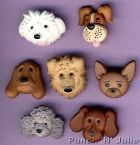 FUZZY FACES Craft Buttons Dog Puppy Show Animal Poodle Pet Novelty Dress It Up