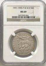 1991 - 1995 P W. W. II WWII Commemorative Half Dollar 50C  NGC MS69