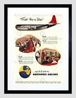 ADVERT 1954 NORTHWEST AIRLINES FLIGHT TRAVEL BLACK FRAMED ART PRINT B12X10507