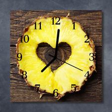 Glass Wall Clock Kitchen Clocks 30x30 cm silent Pineapple Yellow