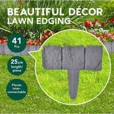 vidaXL Plastic Garden/Lawn Fence Stone Look 10m (41 Pieces) (40917)