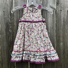 Pomme Framboise Orchestra Girl's Sun Dress Purple Floral Cotton Lined Size 4Y