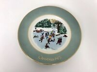 Avon 1975 Christmas Plate Skaters On The Pond 4th Edition Enoch Wedgewood