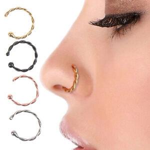 1Pcs Fake Nose Rings Lip Rings Body Jewelry Faux Piercing Clip Women Nose RAURI