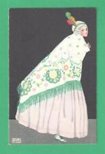 VINTAGE MELA KOEHLER ART POSTCARD FASHIONABLE LADY FEATHER HEADPIECE SHAWL