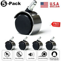 5Pcs Office Chair Caster Rubber Swivel Wheels Replacement Heavy Duty 2 inch