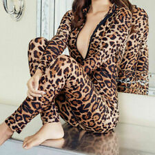 Sexy Womens Deep V Long Sleeve Striped Catsuit Leopard Print Zipper Jumpsuit New
