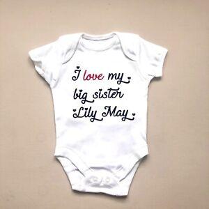 Unisex baby clothing LOVE BIG BROTHER SISTER bodysuit babygrow FANTASTIC GIFT