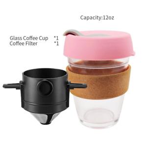 Reusable Coffee Tea Mug Glass Cup Travel 12 oz With Filter Set Eco Dripper