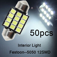 50x White 3528 LED Bulbs 29mm 28mm 12 SMD Festoon Dome Map Light DE3021 DE3022