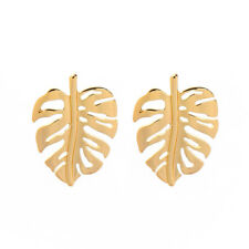 KISS ME 925 Silver Post Gold Simple Leaf Statement Chic Drop Earrings ed01722c