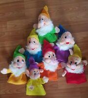 Disney World Vintage Snow White and The Seven Dwarfs Hand Puppets Set Of 7 VTG