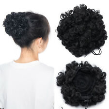 2PCS Short Afro Kinky Curly Hair Extension Buns Clip In Elastic Ponytail US SALE