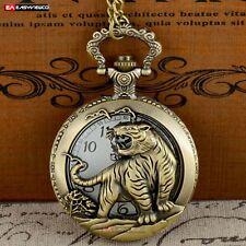 Watch Necklace Gift Vintage Steampunk Antique Bronze Tiger Pendant Quartz Pocket