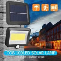 100LED Solar Powered PIR Motion Sensor Wall Light Outdoor Garden Lamp Waterproof