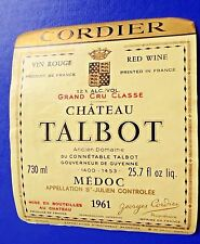 Wine Label 1961 Chateau Talbot Grand Cru Classe Saint-Julien RARE #3