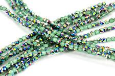 (50) x 3mm Firepolish Czech Glass Beads - Opaque Vitrail Milky Peridot #3FP060