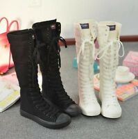 Womens Canvas Casual Shoes Sneakers Athletic Lace Up Zip Knee High Boots Size XY